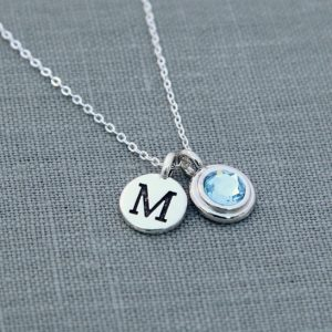 Personalized Birthstone Necklace, Personalized Initial Jewelry, Aquamarine Necklace With Initial, Silver Mother's Necklace With Birthstone