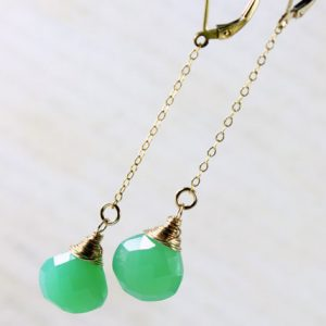 Chrysoprase Earrings, Goldfilled Wire Wrap, Mint Green Gemstone, Fine Gold Earrings, Dangle Chain Earrings, Gift For Her