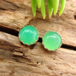 Chrysoprase Stud Earrings, Green Cabochon Earrings In Silver, 4mm, B Quality