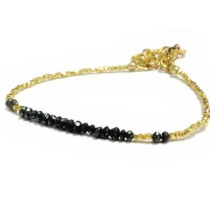 Shop Diamond Bracelets! Black Diamond Bracelet – Black Jewelry – Gold Vermeil Jewellery – Gemstone – Dainty – Luxe | Natural genuine Diamond bracelets. Buy crystal jewelry, handmade handcrafted artisan jewelry for women.  Unique handmade gift ideas. #jewelry #beadedbracelets #beadedjewelry #gift #shopping #handmadejewelry #fashion #style #product #bracelets #affiliate #ad