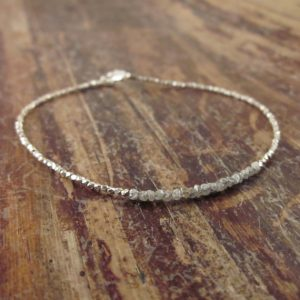 Shop Diamond Jewelry! Raw Diamond Bracelet, Rough Diamond Bracelets, April Birthstone Bracelet, Raw Stone Jewelry, Beaded Bracelets, Girlfriend Gift, Womens Gift | Natural genuine Diamond jewelry. Buy crystal jewelry, handmade handcrafted artisan jewelry for women.  Unique handmade gift ideas. #jewelry #beadedjewelry #beadedjewelry #gift #shopping #handmadejewelry #fashion #style #product #jewelry #affiliate #ad
