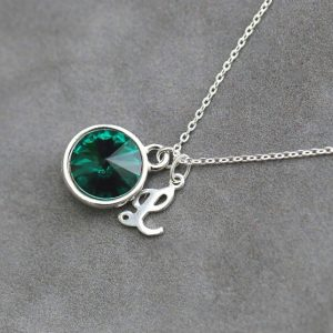 Shop Emerald Necklaces! Emerald Birthstone Necklace, Personalized Silver Initial Jewelry, May Birthday Gift, Custom Emerald Necklace | Natural genuine Emerald necklaces. Buy crystal jewelry, handmade handcrafted artisan jewelry for women.  Unique handmade gift ideas. #jewelry #beadednecklaces #beadedjewelry #gift #shopping #handmadejewelry #fashion #style #product #necklaces #affiliate #ad
