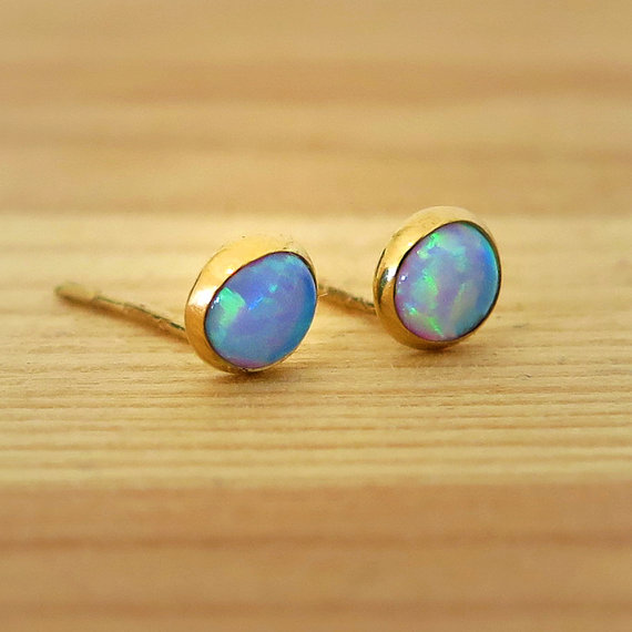 14k Gold Opal Studs, Blue Opal Earrings, Gold Stud Earrings, 14k Gold Earrings, Solid Gold Earrings, Girls Earrings, October Birthstone