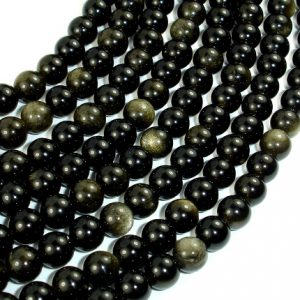 Golden Obsidian Beads, Round, 6mm, 15.5 Inch, Full strand, Approx 63 beads, Hole 1 mm, A quality (239054001) | Natural genuine round Golden Obsidian beads for beading and jewelry making.  #jewelry #beads #beadedjewelry #diyjewelry #jewelrymaking #beadstore #beading #affiliate #ad