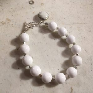 White Bracelet – Jade Jewelry – Gemstone Jewellery – Charm – Sterling Silver – Fashion