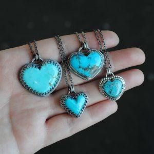 Kingman Turquoise Heart Necklace – Sterling Silver Turquoise Heart Jewelry