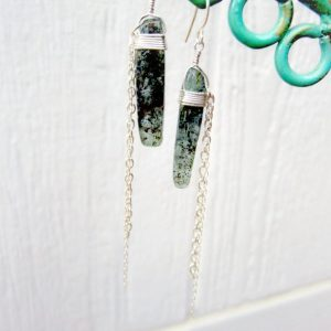 Green Kyanite Spike Earrings – Unique Handmade Jewellery – Gemstone Jewelry – Sterling Silver – Chain – 925
