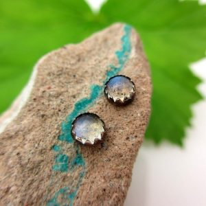Shop Labradorite Earrings! Black Silver Labradorite Stud Earrings, 4mm | Natural genuine gemstone jewelry in modern, chic, boho, elegant styles. Buy crystal handmade handcrafted artisan art jewelry & accessories. #jewelry #beaded #beadedjewelry #product #gifts #shopping #style #fashion #product