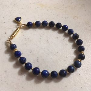 Lapis Bracelet – Navy Blue Lapis Lazuli Jewellery – Gemstone Jewelry – Yellow Gold – Denim – Layer – Charm