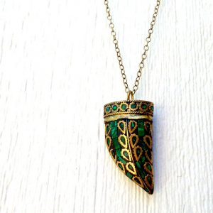 Horn Necklace – Tusk – Malachite Pendant Jewelry – Long Brass Chain Jewellery – Tibetan Tusk – Boho Hipster Unique Fashion