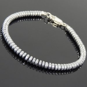 Men Women Bracelet with 2x4mm Hematite Rondelle Beads & 925 Sterling Silver Clasp DiyNotion Handmade BR721