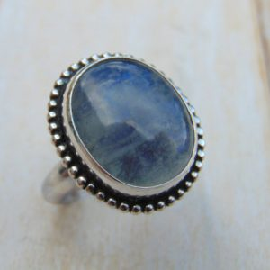 Rainbow Moonstone Ring – Sterling Silver Ring – Moonstone Jewellery – Statement Ring – Bezel Set – Blue Gemstone – Us Size 7 3/4 – Uk Size P