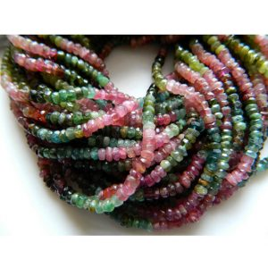 Multi Tourmaline Rondelle Beads, 4mm Faceted Rondelles, 13.5 Inch Strand | Natural genuine rondelle Tourmaline beads for beading and jewelry making.  #jewelry #beads #beadedjewelry #diyjewelry #jewelrymaking #beadstore #beading #affiliate #ad