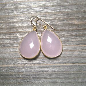 Natural Rose Quartz Earrings, Bezel Set Pear Shape Gemstone, 24k Gold Vermeil, Large Pink Dangle Earrings