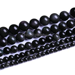 Black Obsidian Beads Round Stones 4 6 8mm 10 12 14 16 18 20mm Loose Beads Bulk Supply