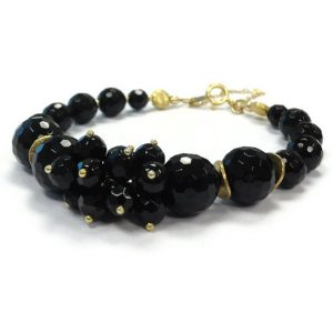 Black Bracelet – Onyx Jewellery – Gold Jewelry – Safety Chain – Gemstone – Elegant – Unique – Fancy – Beaded B-251 | Natural genuine Array bracelets. Buy crystal jewelry, handmade handcrafted artisan jewelry for women.  Unique handmade gift ideas. #jewelry #beadedbracelets #beadedjewelry #gift #shopping #handmadejewelry #fashion #style #product #bracelets #affiliate #ad