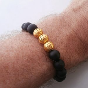 Black Beads Bracelet, Black and Gold Bracelet for Men, Onyx, Lava Stone, and Obsidian Bracelet, Men's Gold Bracelet, Bracelet for Men | Natural genuine Array bracelets. Buy handcrafted artisan men's jewelry, gifts for men.  Unique handmade mens fashion accessories. #jewelry #beadedbracelets #beadedjewelry #shopping #gift #handmadejewelry #bracelets #affiliate #ad