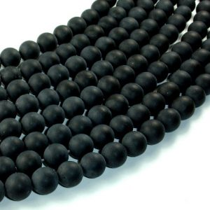 Matte Black Onyx Beads, Round, 10mm, 15 Inch, Full strand, Approx 38 beads, Hole 1 mm, A quality (140054011) | Natural genuine round Onyx beads for beading and jewelry making.  #jewelry #beads #beadedjewelry #diyjewelry #jewelrymaking #beadstore #beading #affiliate #ad