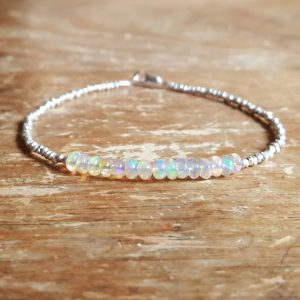 Opal Bracelet Opal Beaded Bracelets October Birthstone Bracelet Fire Opal Bracelet Opal Bead Bracelet Womens Jewelry Birthday Teen Girl Gift