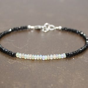 Black Spinel And Ethiopian Opal Bracelet, Opal Jewelry, Welo Opal, Gemstone Bracelet, October Birthstone