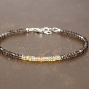 Smokey Quartz And Ethiopian Opal Bracelet, Yellow Ethiopian Welo Opal, Opal Jewelry, Gemstone Bracelet, October Birthstone