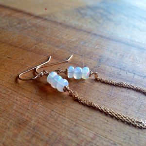 Ethiopian Opal Earrings – October Birthstone Jewellery – Gold Jewelry – Gemstone – Iridescent – Chain