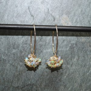 Genuine Fire Ethiopian Opal Earrings, Ethiopian Opal Jewelry, Welo Opal, Cluster Earrings, October Birthstone | Natural genuine Opal earrings. Buy crystal jewelry, handmade handcrafted artisan jewelry for women.  Unique handmade gift ideas. #jewelry #beadedearrings #beadedjewelry #gift #shopping #handmadejewelry #fashion #style #product #earrings #affiliate #ad