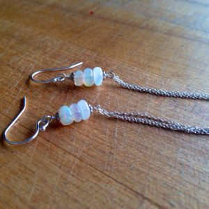 Opal Earrings – October Birthstone – Sterling Silver Jewelry – Gemstone Jewellery – Chain – Ethiopian – Iridescent