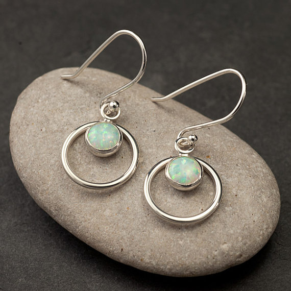 Opal Earrings- Silver Opal Earrings- Opal Dangle Earrings- Silver Earrings With Opal Gemstones- October Birthstone