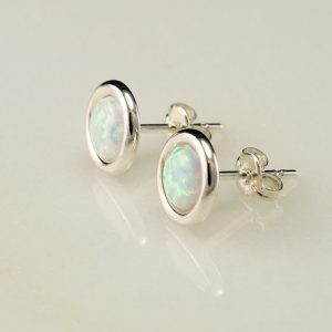 Opal Earrings- Opal Stud Earrings- October Birthstone- Silver Opal Earrings- Sterling Silver Studs- Opal Post Earrings