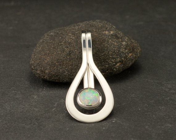 Opal Pendant- Opal Necklace- Sterling Silver Necklace With Opal- Opal Jewelry- Opal Gemstone Necklace