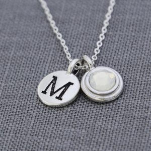 Personalized Initial Necklace With Birthstone, Personalized Grandma Necklace, Birthstone Initial Jewelry, October Opal Necklace