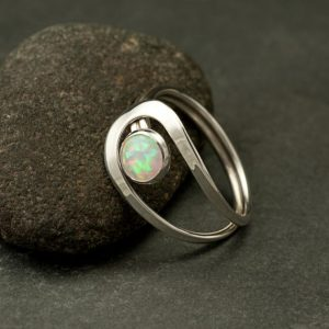 Opal Ring, Silver Opal Ring, White Opal Ring, Opal Gemstone Ring, Sterling Silver Stone Ring, Handmade Sterling Silver Jewelry | Natural genuine Opal rings, simple unique handcrafted gemstone rings. #rings #jewelry #shopping #gift #handmade #fashion #style #affiliate #ad