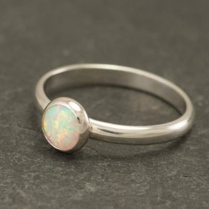 Opal Ring – Silver Opal Ring- Solitaire Ring- Opal Engagement Ring – Simple Modern Opal Ring- Sterling Silver Gemstone Ring