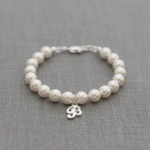 Personalized Flower Girl Bracelet, Personalized Pearl Jewelry, Custom Initial, Junior Bridesmaid, Children's Pearl Bracelet, Silver Letter