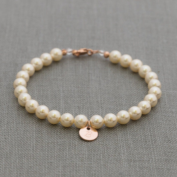 Rose Gold Bridesmaids Bracelet, Personalized Bridesmaid Initial Gift, Junior Bridesmaid Pearl Bracelet, Rose Gold Bridal Party Jewelry
