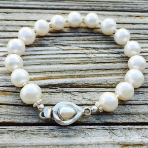 Pearl Bracelet – White Gemstone Jewelry – Box Clasp Jewellery – Beaded – Sterling Silver – Wedding – Bride