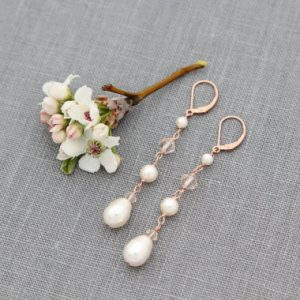 Long Rose Gold Bridal Earrings, Bridal Jewelry, Crystal & Pearl Drops, Linear, Rose Gold Wedding Earrings | Natural genuine Gemstone earrings. Buy handcrafted artisan wedding jewelry.  Unique handmade bridal jewelry gift ideas. #jewelry #beadedearrings #gift #crystaljewelry #shopping #handmadejewelry #wedding #bridal #earrings #affiliate #ad