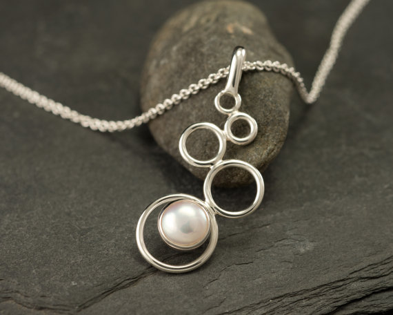 Pearl Necklace- Pearl Pendant- Sterling Silver Necklace With Pearl- White Pearl Jewelry- Sterling Silver Jewelry Handmade