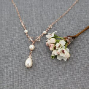 Pearl Necklace, Rose Gold Bridal Necklace, Bridal Jewelry, Rose Gold Crystal Necklace, Y-drop Necklace