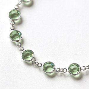Peridot Bracelet, August Birthstone Bracelet, Peridot Jewelry, August Birthstone Jewelry, Light Pale Green Crystal Bracelet