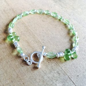 Green Bracelet – Peridot Gemstone Jewelry – August Birthstone – Beaded Jewelery – Funky – Sterling Silver – Fashion