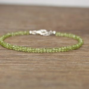 Peridot Bracelet, Peridot Jewelry, August Birthstone, Minimalist, Gemstone Jewelry