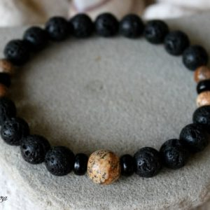 Shop Picture Jasper Bracelets! Men's Lava Bracelet, Picture Jasper Bracelet, Men's Jasper Bracelet, Mens Lava Bracelet, Men Jasper Mala, Wrist Mala, Volcanic Rock Bracelet | Natural genuine gemstone jewelry in modern, chic, boho, elegant styles. Buy crystal handmade handcrafted artisan art jewelry & accessories. #jewelry #beaded #beadedjewelry #product #gifts #shopping #style #fashion #product