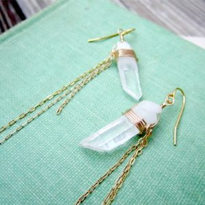 Crystal Earrings – Clear Crystal Quartz Earrings – Spike Earrings – Point Jewelry – Gold Jewellery – Modern Chain Jewelry – Gemstone