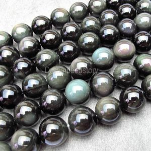 Rainbow Obsidian Beads, Natural Round Black Obsidian Beads With Double Rainbow Eye, 8 10 12 14 16 18mm Diy Black Stone Beads Supplies