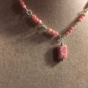 Pink Necklace – Rhodochrosite Gemstone Jewellery – Sterling Silver Jewelry – Fashion – Chain – Pendant