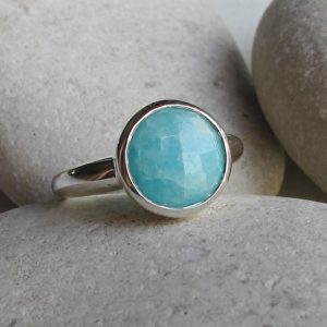 Shop Amazonite Jewelry! Round Amazonite Boho Ring- Blue Gemstone Stack Ring- Turquoise Bohemian Ring- Gypsy Blue Ring- Sterling Silver Blue Ring- Simple Blue Ring | Natural genuine Amazonite jewelry. Buy crystal jewelry, handmade handcrafted artisan jewelry for women.  Unique handmade gift ideas. #jewelry #beadedjewelry #beadedjewelry #gift #shopping #handmadejewelry #fashion #style #product #jewelry #affiliate #ad