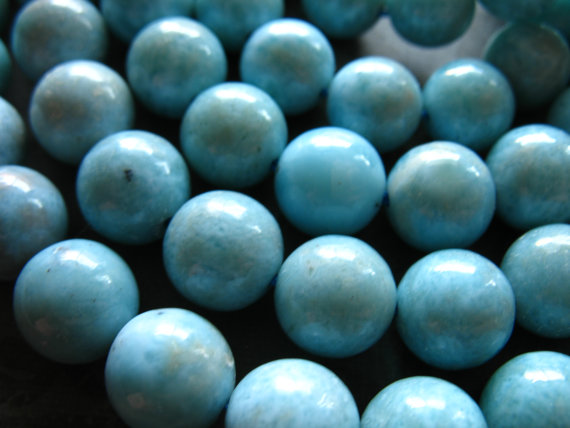 2-10 Pcs, Larimar Round Beads, 8-8.5 Mm, Luxe A-aa, Aqua Blue Smooth, Dominican Republic Gem Wholesale Roundgems.8 True Solo