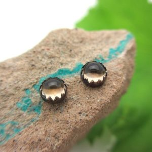 Black Silver Smoky Quartz Stud Earrings, 4mm